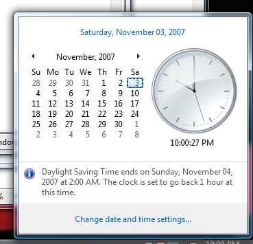 Daylight savings ending.